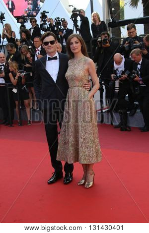CANNES, FRANCE - MAY 21:  Sam Riley  and Alexandra Maria Lara attend the 'Elle' Premiere during the 69th annual Cannes Film Festival at the Palais des Festivals on May 21, 2016 in Cannes, France.