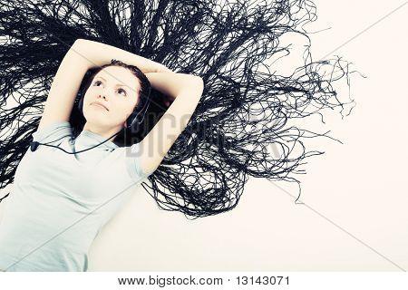 Portrait of beautiful girl with great dreadlocks.