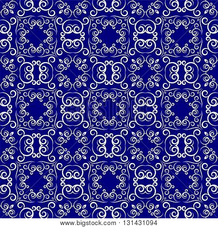 Medieval floral seamless pattern in damask style for design.