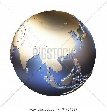 Southeast Asia On Golden Metallic Earth