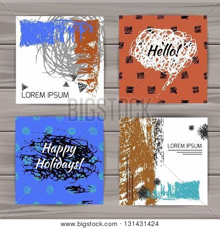 Set of unusual color universal cards. Hand Drawn textures. Wedding, anniversary, birthday, Valentin's day, party invitations. Vector cover with sketchy elements.