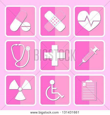 Medical Icon Set Flat Style Pink Theme Vector Illustration