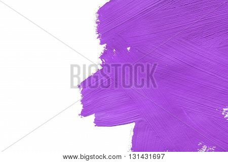 Abstract purple painting isolated on white background