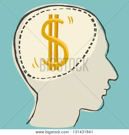 Dollar sign inside the abstract human head, vector illustration