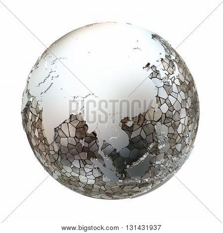 Southeast Asia On Metallic Earth