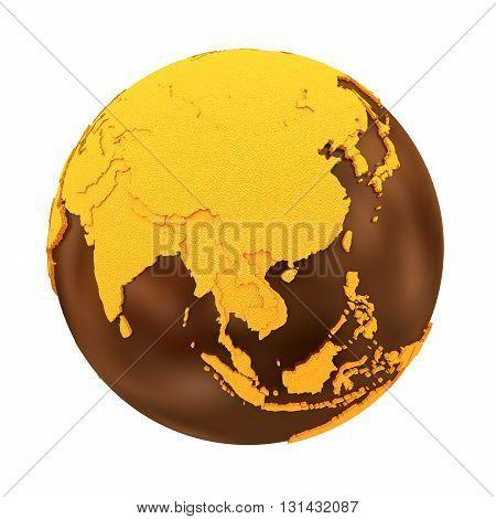 Southeast Asia On Chocolate Earth