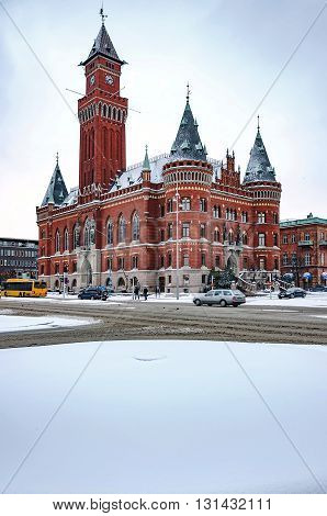 HELSINGBORG SWEDEN - January 14: A view of the swedish city of Helsingborg during some wintry weather conditions.
