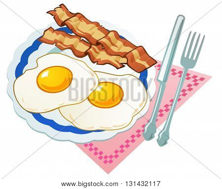 Simple but tasty breakfast, two eggs, two slices of bacon.