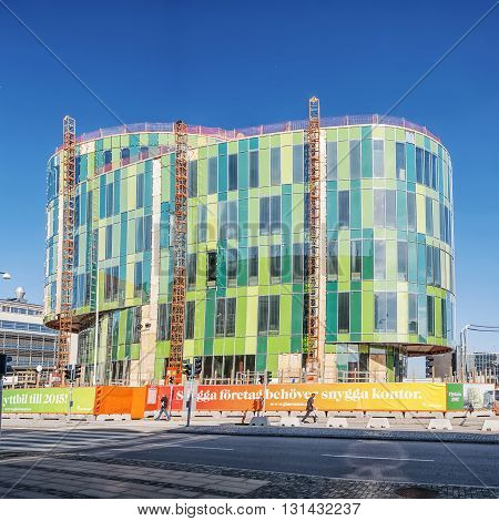 MALMO SWEDEN - AUGUST 17 2015: The new block the Glass Vase under construction in south harbor of Malmo close to the city. The designer sees it as a sculpture in the urban space.