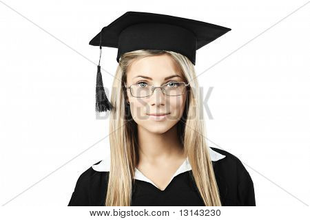 Portrait of a young woman in an academic gown. Educational theme.