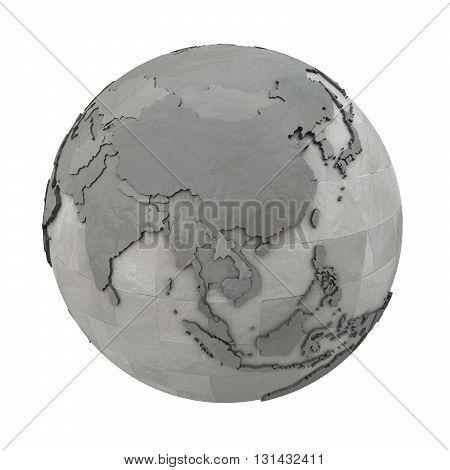 Southeast Asia On Metallic Planet Earth