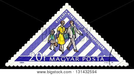 STAVROPOL RUSSIA - APRIL 28 2016: a stamp printed by Hungary shows Grossing Street in Safety Zone circa 1964