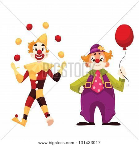 Two cheerful clown on a holiday, vector cartoon comic illustration isolated on a white background, funny cartoon clown shows tricks, funny comic clown holding balloon, funny faces and cheerful mood
