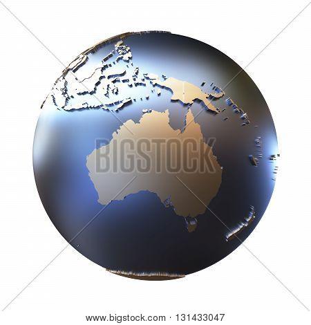 Australia On Golden Metallic Earth