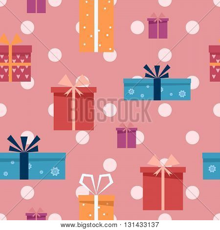 Gift boxes seamless  pattern. Vector flat illustration