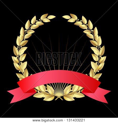 Gold laurel wreath with red ribbon isolated on black background. Vector illustration