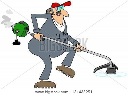 Illustration of a man wearing coveralls using a gas powered string trimmer.
