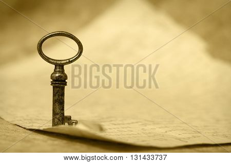 Vintage key background - success and solution concept