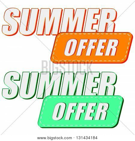 summer offer, two colors labels, flat design, business seasonal shopping concept, vector