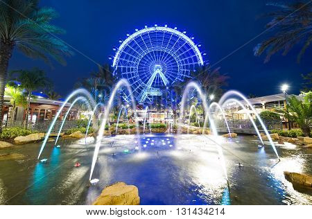 ORLANDO FLORIDA USA - APRIL 30 2016: The Orlando Eye is a 400 feet tall ferris wheel in the heart of Orlando and the largest observation wheel on the east coast