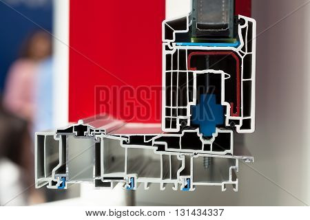 PVC window profile. Cross section of PVC window or door