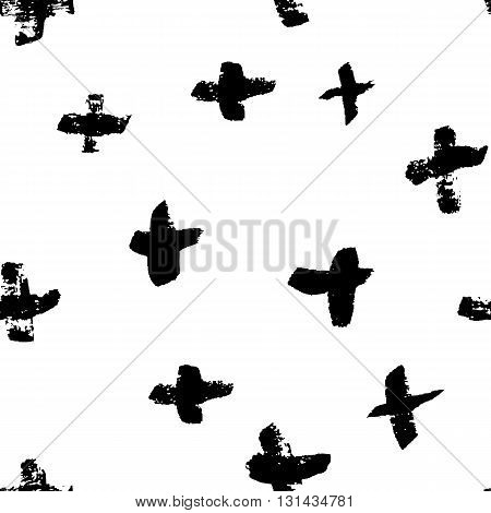 Vector seamless pattern. Abstract background with brush painted crosses.