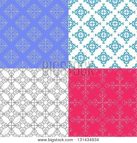 Set of vector color seamless geometrical patterns. Decorative vintage textures. Retro backgrounds for cards, invitations and others.