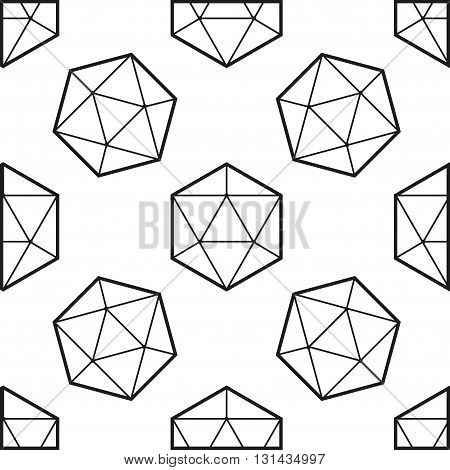 Seamless pattern with black hexagons on white list
