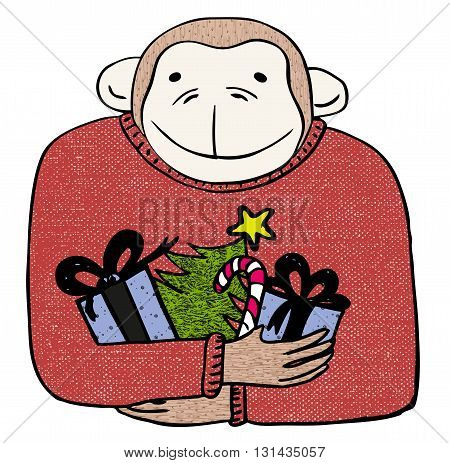 Vector  illustration of a monkey holding gifts.  Hand drawn holiday clip art. Winter greeting card.