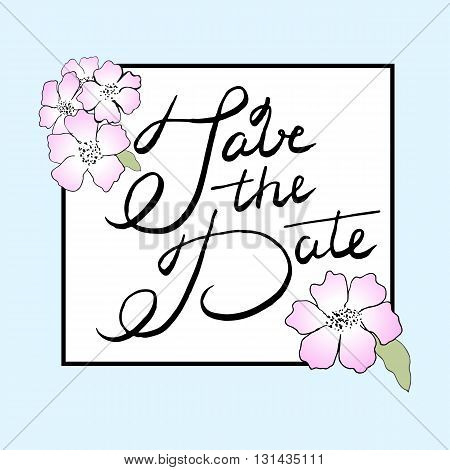 Save the date vector card with flowers.