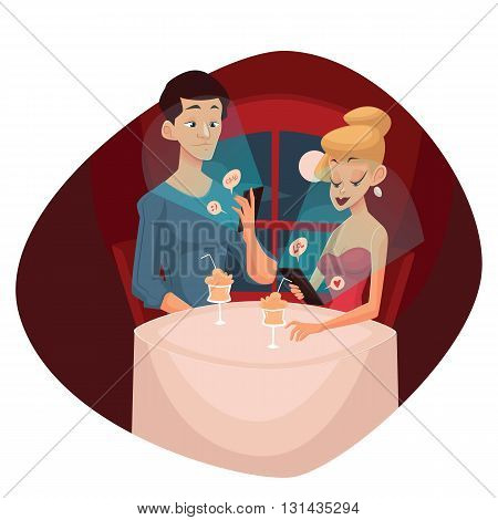 date loving couple and mobile phone, vector cartoon comic illustration, concept meeting couples in love and modern technology, evening the men and women who keep the phones do not notice each other