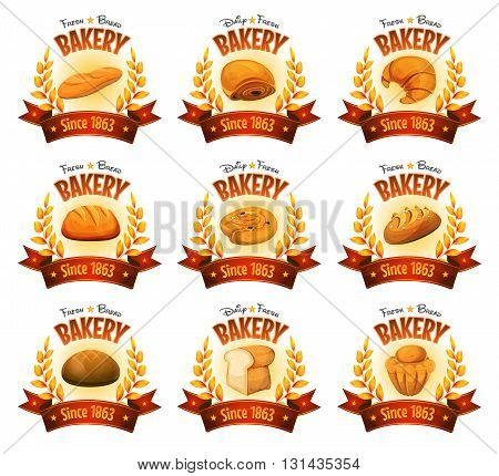 Illustration of a set of bakery and pastry deluxe banners with red ribbons gold cereal leaves and various bread icons brioche cakes desserts and sweets