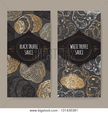 Set of two elegant labels for white and black truffle sauce placed on black lace background. Great for restaurant, cafe, markets, grocery stores, organic shops, food label design.