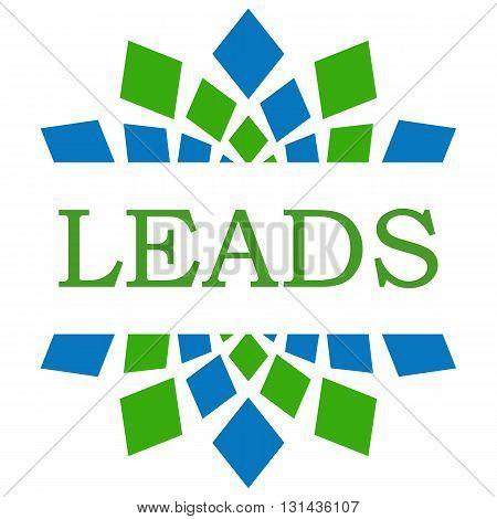 Leads text written over green blue circular background.
