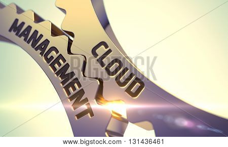Golden Metallic Cog Gears with Cloud Management Concept. Cloud Management Golden Cogwheels. Cloud Management - Illustration with Glow Effect and Lens Flare. 3D.