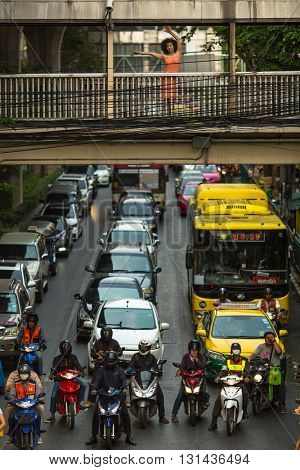 BANGKOK, THAILAND - MAR 30, 2016: Transport traffic in city centre. Annually an estimated 150,000 new cars join the heavily congested roads of Bangkok.