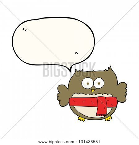 freehand drawn speech bubble cartoon owl wearing scarf