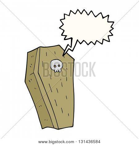 freehand drawn speech bubble cartoon spooky coffin