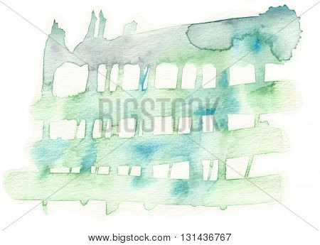 rough green abstract brushstroke textures watercolor background
