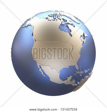 North America On Golden Metallic Earth