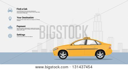 infographic template with taxi car and big city silhouette on background taxi service concept flat style illustration