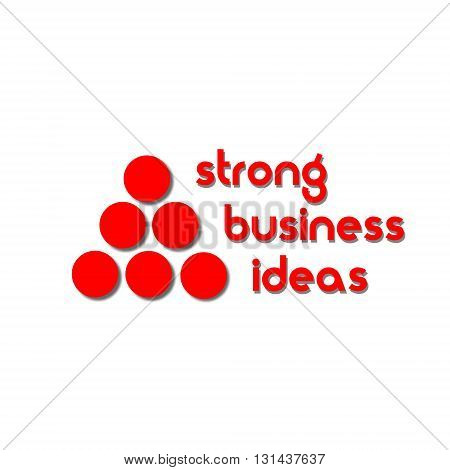 Strong business ideas logo Pyramid of red dots with shadow indicating the strength and solidity of the company 's logo