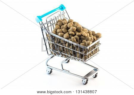 Cart fulfilled with pet food - pet nutrition concept
