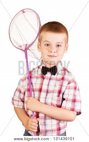 Cute, cheerful boy holding a butterfly net isolated on white background.