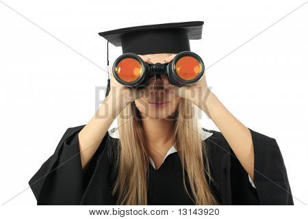 Portrait of a young woman in an academic gown, future trends. Educational theme.