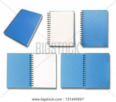 Blue note book collection on white color background