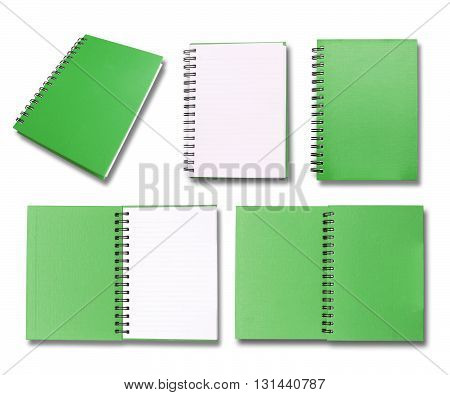 Green note book collection on white color background