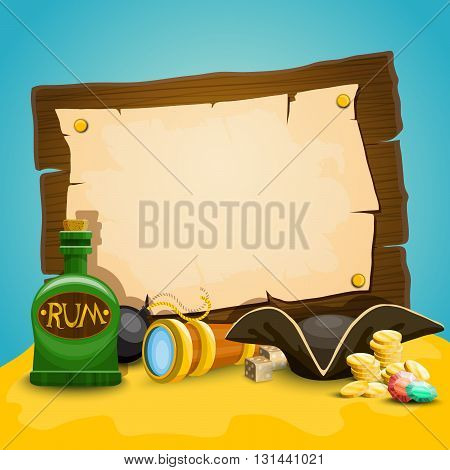 Pirate illustration. Set with wood poster and old paper, coins and other objects