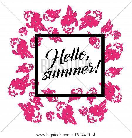 Vector artistic creative card template. Ink drawing. Hand drawn design. Placard, poster, leaflet, business card flat illustration. Spring, Summer design.