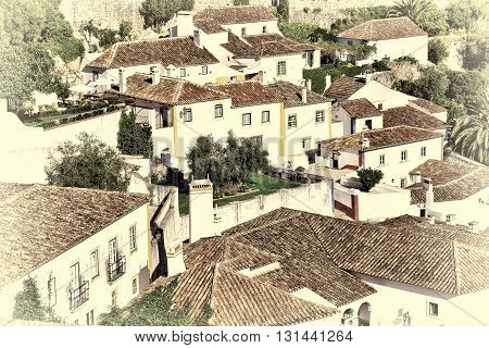 View to Historic Center City of Obidos in Portugal Retro Image Filtered Style